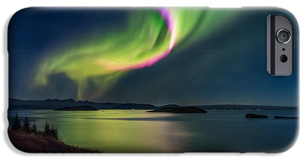 Northern Lights iPhone Cases - Northern Lights Over Thingvallavatn Or iPhone Case by Panoramic Images