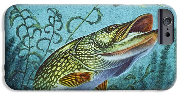 Cabin iPhone Cases - Northern Pike Spinner Bait iPhone Case by Jon Q Wright