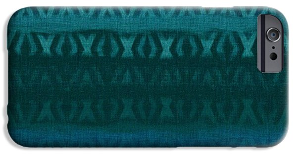 Tribal Tapestries - Textiles iPhone Cases - Northern Teal Weave iPhone Case by CR Leyland