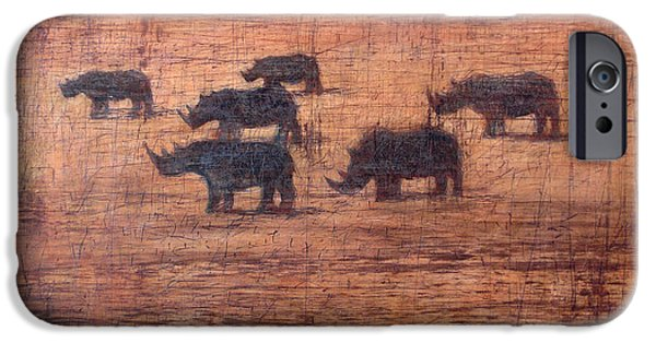Rhino iPhone Cases - Northern White Rhinoceros, 2008 Oil On Board iPhone Case by Charlie Baird