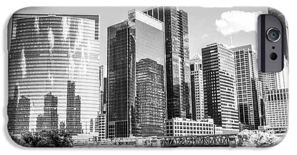 Sears Tower iPhone Cases - Northwest Chicago Loop Buildings Black and White Photo iPhone Case by Paul Velgos