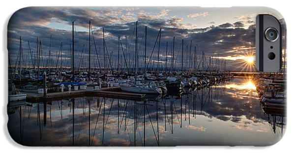 Sailing iPhone Cases - Northwest Marina Sunset Sunstar iPhone Case by Mike Reid