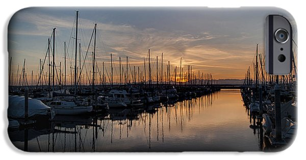 Evening iPhone Cases - Northwest Marina Tranquility iPhone Case by Mike Reid
