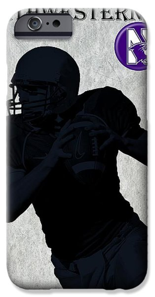 Business Digital Art iPhone Cases - Northwestern Football iPhone Case by David Dehner