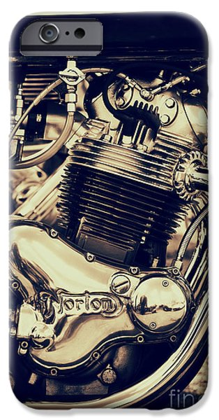 Toning iPhone Cases - Norton Commando 750cc Engine iPhone Case by Tim Gainey