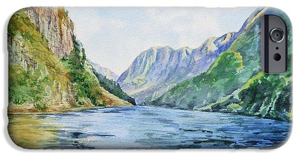 Norway Paintings iPhone Cases - Norway Fjord iPhone Case by Irina Sztukowski