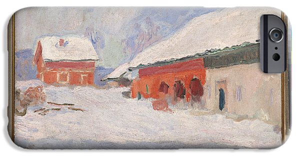 Impressionist Photographs iPhone Cases - Norway, Red Houses At Bjornegaard, 1895 Oil On Canvas iPhone Case by Claude Monet