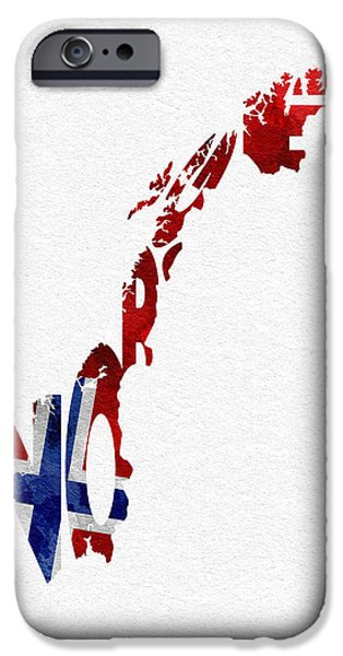 Dirty iPhone Cases - Norway Typographic Map Flag iPhone Case by Ayse Deniz