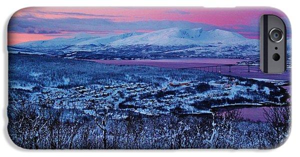 Norwegian Sunset iPhone Cases - Norwegian Arctic Twilight iPhone Case by David Broome