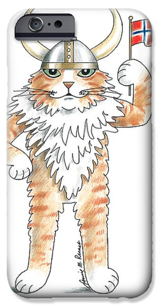 Norway Drawings iPhone Cases - Norwegian cat iPhone Case by Louise McClain Reeves