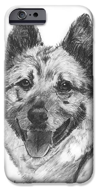Norwegian Elkhound Sketch iPhone Case by Kate Sumners