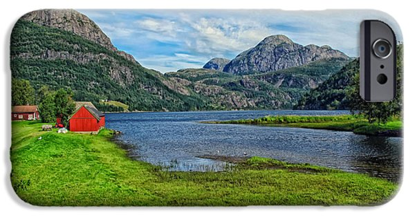 Norway iPhone Cases - Norwegian Farm and Fjord iPhone Case by Mountain Dreams