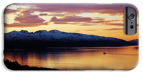 Norwegian Sunset iPhone Cases - Norwegian Fjordland Sunset iPhone Case by David Broome