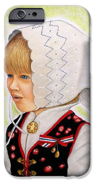 Norway Pastels iPhone Cases - Norwegian Girl iPhone Case by Cris Motta