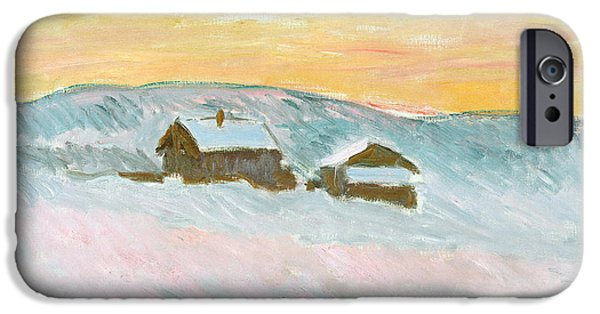 Norway iPhone Cases - Norwegian Landscape, Blue Houses, 1895 Oil On Canvas iPhone Case by Claude Monet
