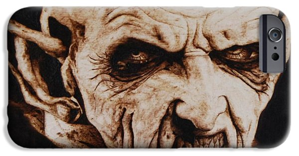 Film Pyrography iPhone Cases - Nosferatu iPhone Case by Invictus IA