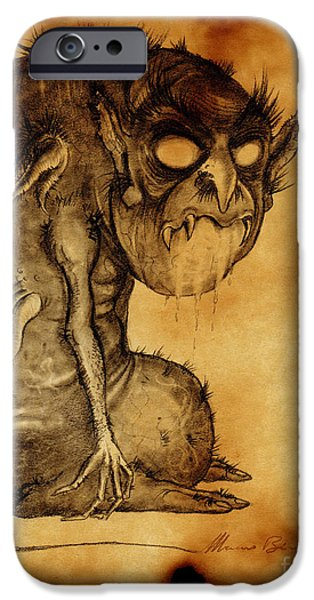 Eerie Drawings iPhone Cases - Nosferatu iPhone Case by Mariano Baino