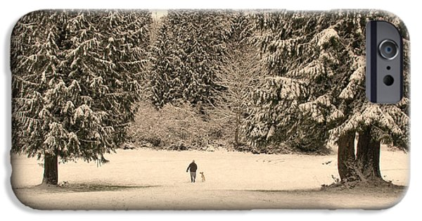 Wintertime iPhone Cases - Nostalgic Winter Walk in the Snow iPhone Case by Jennie Marie Schell