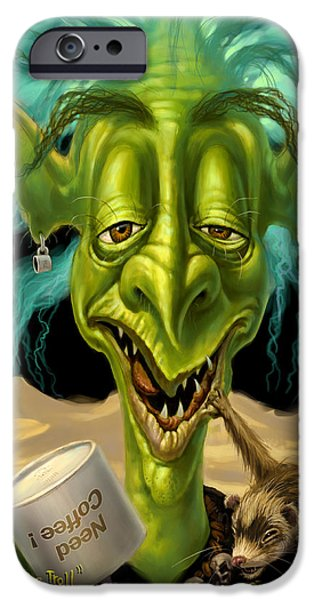 Ears Digital iPhone Cases - Not Enough Coffee Troll iPhone Case by Jeff Haynie