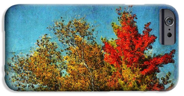 Textured Digital Art iPhone Cases - Not Only Some Other Autumn Trees - a03a iPhone Case by Variance Collections