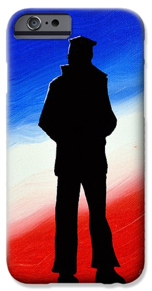 4th Of July Paintings iPhone Cases - Not Self But Country iPhone Case by Alys Caviness-Gober
