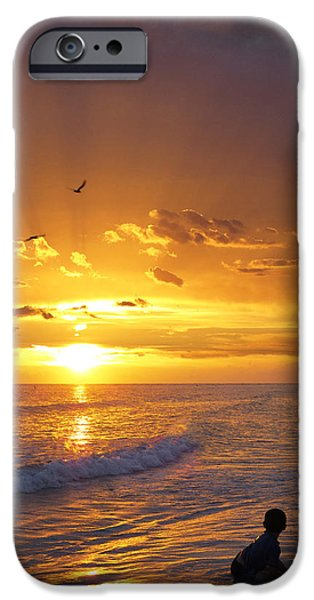 Ocean Sunset iPhone Cases - Not Yet - Sunset Art By Sharon Cummings iPhone Case by Sharon Cummings