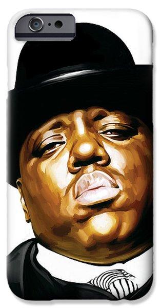 Hip-hop iPhone Cases - Notorious Big - Biggie Smalls Artwork 2 iPhone Case by Sheraz A