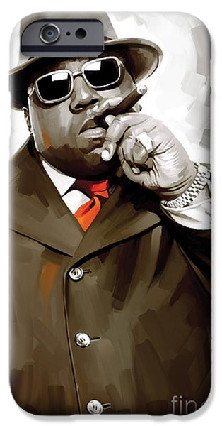 Small iPhone Cases - Notorious Big - Biggie Smalls Artwork 3 iPhone Case by Sheraz A