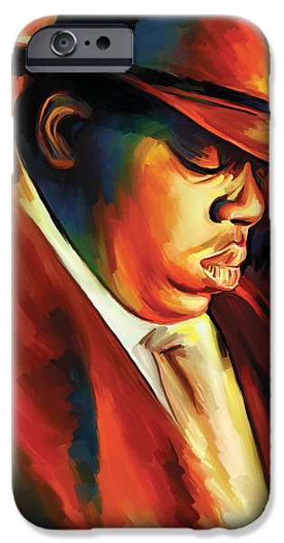 Hip-hop iPhone Cases - Notorious Big - Biggie Smalls Artwork iPhone Case by Sheraz A