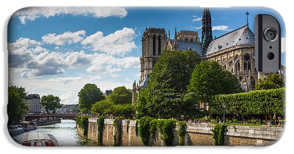 Christianity iPhone Cases - Notre Dame and the Seine River iPhone Case by Inge Johnsson
