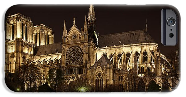 Notre Dame Cathedral iPhone Cases - Notre Dame at Night iPhone Case by Karma Boyer