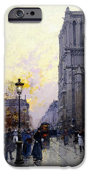 Jacques Lieven iPhone Cases - Notre Dame de Paris iPhone Case by Eugene Galien-Laloue
