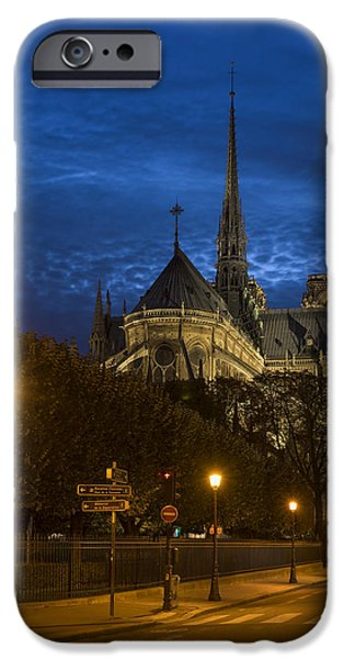 Universities Pyrography iPhone Cases - Notre Dame de Paris in the twilights iPhone Case by Vyacheslav Isaev
