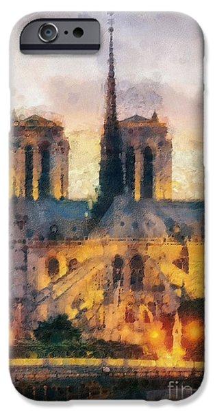 Mo T iPhone Cases - Notre Dame de Paris iPhone Case by Mo T