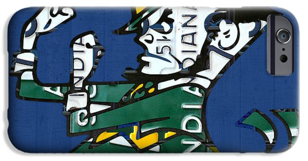 Universities Mixed Media iPhone Cases - Notre Dame Fighting Irish Leprechaun Vintage Indiana License Plate Art  iPhone Case by Design Turnpike