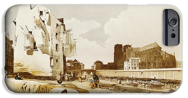 Notre Dame Cathedral iPhone Cases - Notre Dame From The Quai St. Bernard Colour Litho iPhone Case by Thomas Shotter Boys