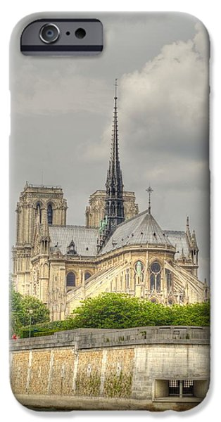 Historic Site iPhone Cases - Notre Dame from the Seine iPhone Case by Linda Covino