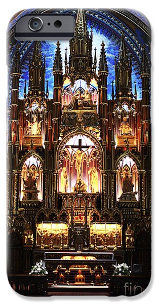 Old School Galleries iPhone Cases - Notre Dame Interior iPhone Case by John Rizzuto