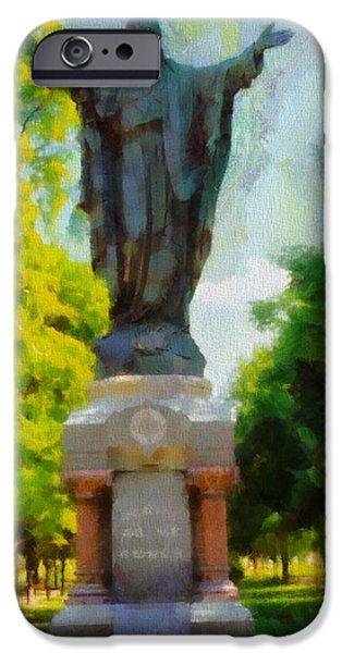 Universities Mixed Media iPhone Cases - Notre Dame Jesus Statue In Summer iPhone Case by Dan Sproul
