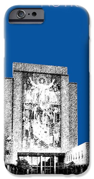 Pen And Ink iPhone Cases - Notre Dame University Skyline Hesburgh Library - Royal Blue iPhone Case by DB Artist