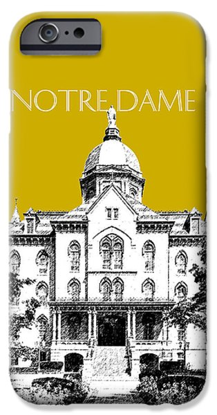 Pen And Ink iPhone Cases - Notre Dame University Skyline Main Building - Gold iPhone Case by DB Artist
