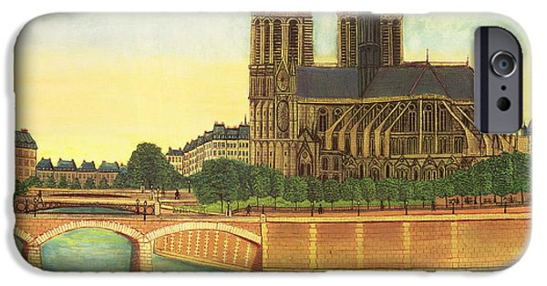 Notre Dame Cathedral iPhone Cases - Notre-dame View Of The Apse C.1933 Oil On Canvas iPhone Case by Louis Vivin