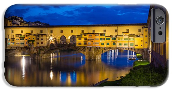 Tuscan Sunset iPhone Cases - Notte a Ponte Vecchio iPhone Case by Inge Johnsson