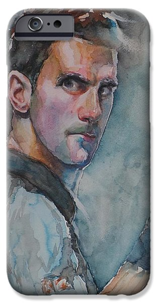 French Open Paintings iPhone Cases - Novak Djokovic - Portrait 1 iPhone Case by Baresh Kebar