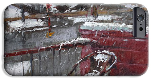 Snowscape Paintings iPhone Cases - First Snowfall Nov 17 2014 iPhone Case by Ylli Haruni