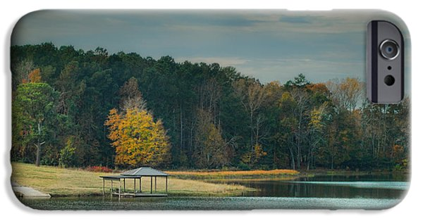 Fall Scenes iPhone Cases - November Dock - Autumn Scene iPhone Case by Jai Johnson
