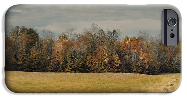 Fall Scenes iPhone Cases - November Fields - Autumn Landscape iPhone Case by Jai Johnson