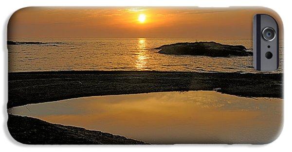 Sandra Updyke iPhone Cases - November sunrise II - Lake Superior iPhone Case by Sandra Updyke