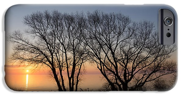 Willow Lake iPhone Cases - November Sunrise on Lake Ontario in Toronto Canada  iPhone Case by Georgia Mizuleva