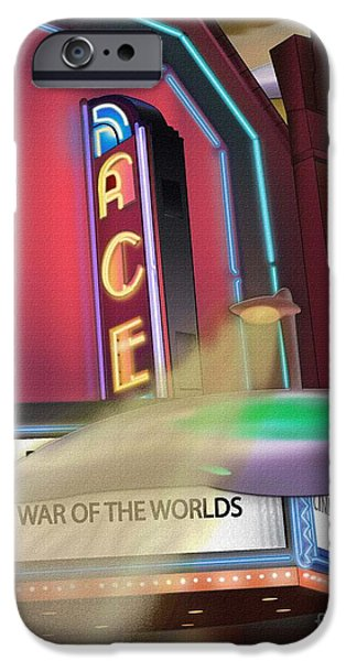 1950s Movies Drawings iPhone Cases - Now Showing iPhone Case by Michael Lovell